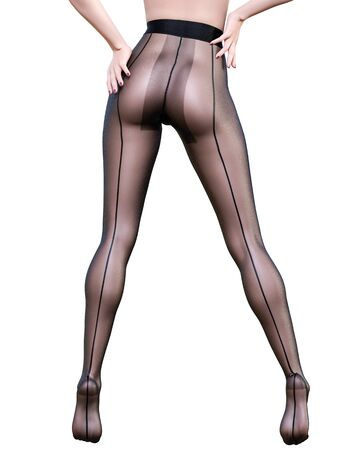 Beautiful long slender sexy female legs black nylon pantyhose.Intimate underwear collection clothing.Provocative liberated pose.3D rendering isolate.Conceptual fashion art. Stock fotó