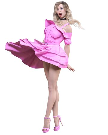 Beautiful blonde woman light summer waving dress.Bright makeup.Pin up girl.Skirt up wind.Woman studio photography.Conceptual fashion art.Seductive candid pose.Femme fatale.3D Render.