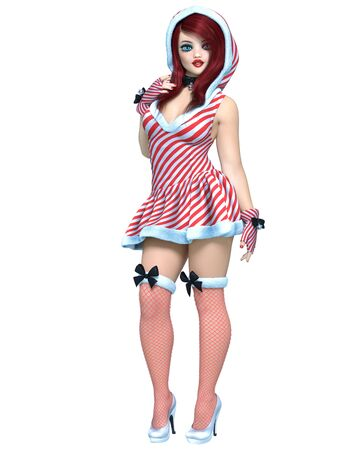 Young beautiful Santa girl doll face. Short christmas festive dress fur. Long red hair. Bright make up. Conceptual fashion art. 3D render isolate illustration. Christmas, New Year.