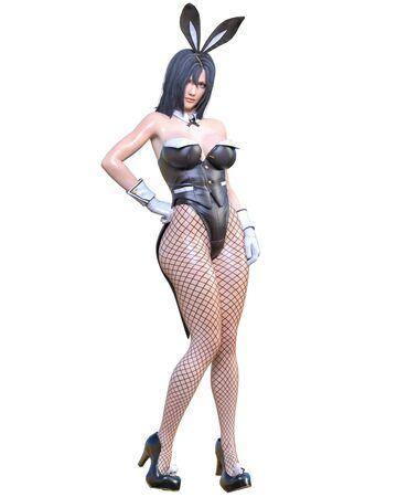 3D sexy anime bunny suit japanese girl.Extravagant leather corset.Comic cosplay hero.Cartoon, comics, manga illustration.Conceptual fashion art.Isolate for popsocket