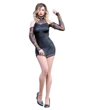 Beautiful woman in short evening black dress.Blonde long hair.Woman studio photography.High heel.Conceptual fashion art.Seductive candid pose.3d render illustration.