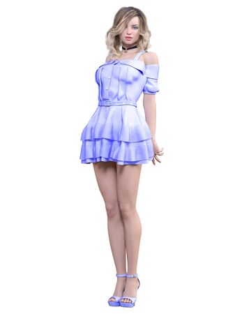 Beautiful blonde woman in light summer waving dress.Summer clothes collection.Bright makeup.Woman studio photography.Conceptual fashion art.Seductive candid pose.Femme fatale.3D Render.