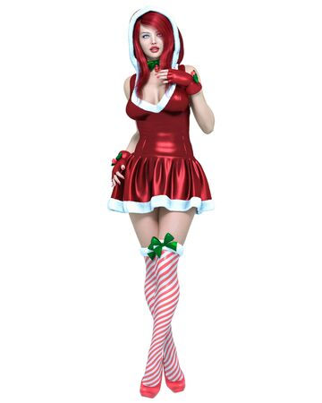 Young beautiful Santa girl. Short christmas festive dress fur. Long red hair. Bright make up. Conceptual fashion art. 3D render isolate illustration. Christmas, New Year. Stock Photo