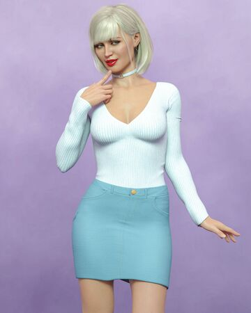 Beautiful blonde woman in short denim skirt and wool blouse.Bright makeup.Woman studio photography.Conceptual fashion art.Office business style.Femme fatale.3D Render. Stock Photo