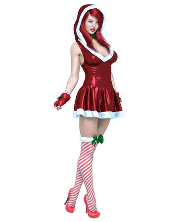 Young beautiful Santa girl. Short christmas festive dress fur. Long red hair. Bright make up. Conceptual fashion art. 3D render isolate illustration. Christmas, New Year. 写真素材