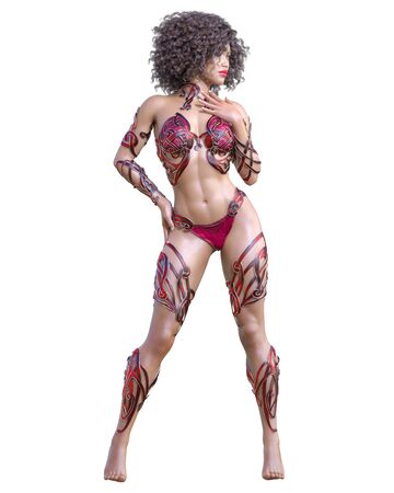 Warrior amazon woman. Long dark hair. Muscular athletic body. Girl standing candid provocative pose. Conceptual fashion art. 3D render isolate illustration. Hi key.