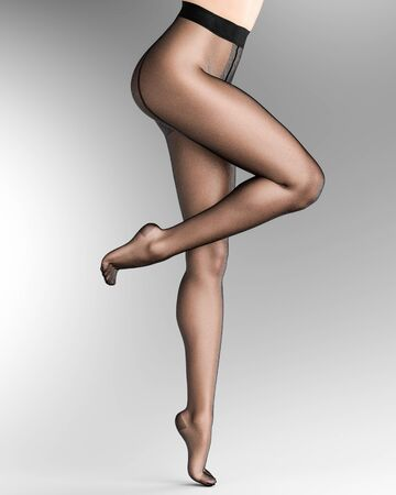 Beautiful long slender sexy female legs black nylon pantyhose.Intimate underwear collection clothing.Provocative liberated pose.3D rendering gray background.Conceptual fashion art 写真素材