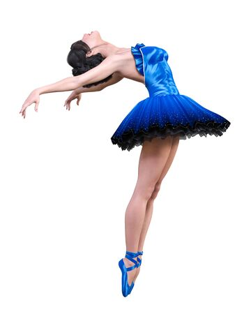 Dancing ballerina.Blue ballet tutu.Beautiful girl with blue eyes.Ballet dancer.Studio photography.Conceptual fashion art.3D render isolate illustration. 写真素材