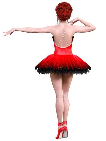 Dancing ballerina.Red ballet tutu.Beautiful girl with blue eyes.Ballet dancer.Studio photography.Conceptual fashion art.3D render isolate illustration.