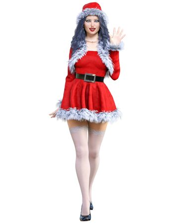 Young beautiful Santa girl. Short red warm festive dress fur. Long hair. Bright make up. Conceptual fashion art. 3D render isolate illustration. Christmas, New Year. 写真素材