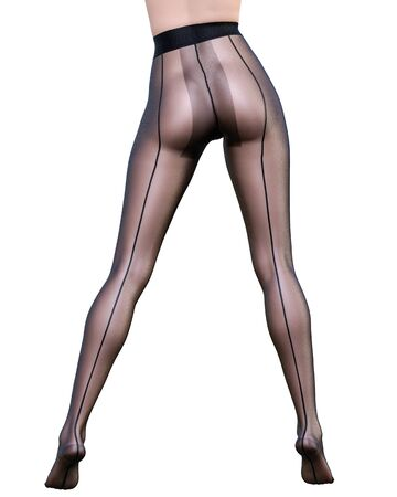 Beautiful long slender sexy female legs black nylon pantyhose.Intimate underwear collection clothing.Provocative liberated pose.3D rendering isolate.Conceptual fashion art. 写真素材