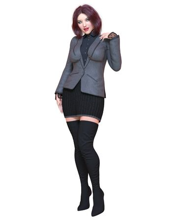 Beautiful brunette woman in black blazer and long boots.Spring-autumn collection clothes.Bright makeup.Woman studio photography.Conceptual fashion art.Seductive candid pose.3D render illustration. 写真素材