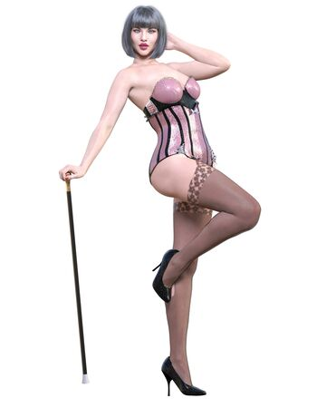 Tall sexy woman corset and stockings garters.Burlesque show.Girl cane.Retro style.Girl magnificent voluptuous shapes.Conceptual fashion art.Seductive candid pose.3D render isolate illustration