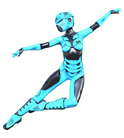 Dancing robot woman.Azure matte plastic metal droid.Android girl.Artificial Intelligence.Conceptual fashion art.3D render illustration.Studio, isolate, high key. Stock Photo