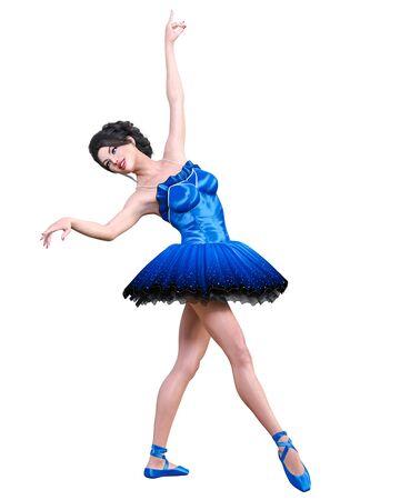 Dancing ballerina.Blue ballet tutu.Beautiful girl with blue eyes.Ballet dancer.Studio photography.Conceptual fashion art.3D render isolate illustration.