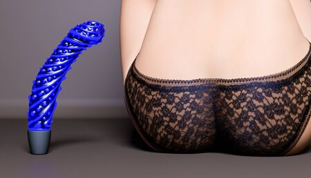 Silicon vibrator (dildo) and women's ass in black panties.Booty rear view.3D render