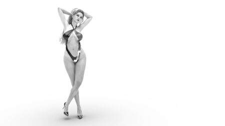 3D beautiful woman in monokini swimsuit.Conceptual fashion art.Seductive candid pose.Realistic render illustration.Studio photography.Isolate.High key monochrome.Black and white Banque d'images - 138264226