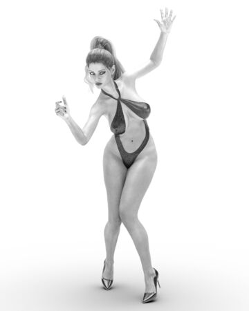 3D beautiful woman in monokini swimsuit.Conceptual fashion art.Seductive candid pose.Realistic render illustration.Studio photography.Isolate.High key monochrome.Black and white Banque d'images - 138264236
