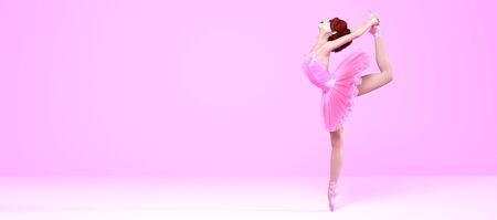 3D Ballerina light classic pointe shoes and ballet tutu. Dancing woman. Ballet dancer. Studio photography. Conceptual fashion art render. Pastel pink background. Copy space Foto de archivo - 139347328