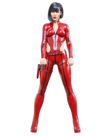 3D beautiful tall woman leather red bodysuit.Latex tight fitting suit.Girl studio photography.High heel.Conceptual fashion art.Seductive candid pose.3d render illustration.