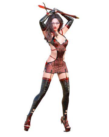 3D japanese assassin warrior amazon woman render. Futuristic neon glow costume llustration. Conceptual fashion art. Seductive candid pose. Isolated.