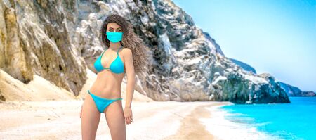 3D beautiful woman in medical mask on sea beach.Summer rest during coronavirus pandemic COVID-19.Blue ocean background.Sunny day.Conceptual fashion art.Render illustration. Reklamní fotografie