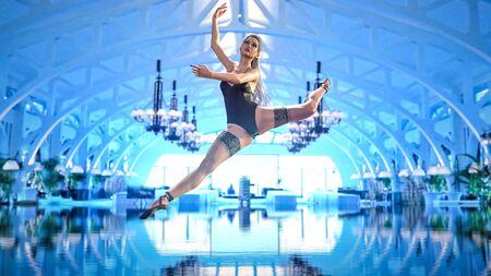 3D Ballerina light classic black pointe shoes and bodysuit. Dancing woman. Ballet sensual dancer. Studio photography. Conceptual fashion art render. Black and white vintage image Stock fotó