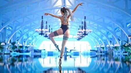 3D Ballerina light classic black pointe shoes and bodysuit. Dancing woman. Ballet sensual dancer. Studio photography. Conceptual fashion art render. Black and white vintage image