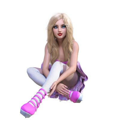 Young beautiful goth girl with doll face posing photo shoot. Short pink dress, stockings, shoes. Long blonde hair. Bright goth make up. Conceptual fashion art. Realistic 3D render illustration. Stock fotó
