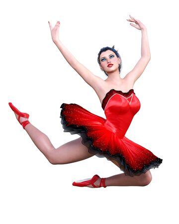 Dancing ballerina.Red ballet tutu.Dark hair girl blue eyes.Ballet street dancer.Studio photography.High key.Conceptual fashion art.3D render isolate illustration. Stock fotó - 147798306