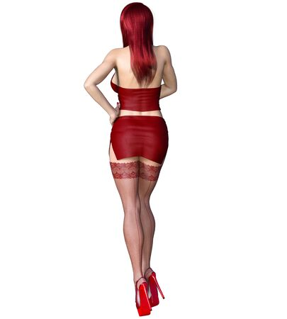 Redhead sexy secretary in short red skirt stockings.Beautiful girl sexually explicit pose.3D rendering isolate illustration.