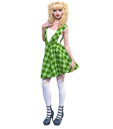 Young beautiful goth girl with doll face posing photo shoot. Green dress, stockings, shoes. Long blonde hair. Bright goth make up. Conceptual fashion art. Realistic 3D render illustration. Stock fotó