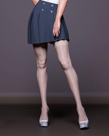 3D Beautiful female legs white stockings skirt dark background.Woman studio photography.High heel.Conceptual fashion art.Seductive candid pose.Render illustration.Summer clothes.Secretary uniform Stock fotó - 147798341