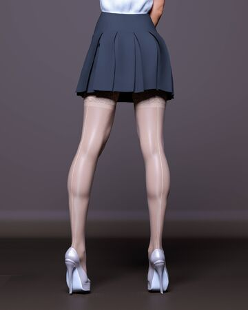 3D Beautiful female legs white stockings skirt dark background.Woman studio photography.High heel.Conceptual fashion art.Seductive candid pose.Render illustration.Summer clothes.Secretary uniform
