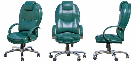 Leather office chair with armrests. 3D render isolate illustration set Stock fotó
