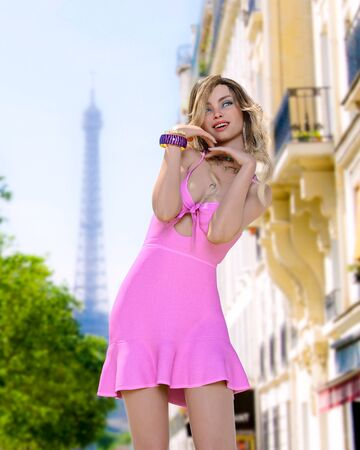Beautiful woman in short light slim pink summer dress background of Eiffel Tower in Paris.Long hair.Girl poses for photographer.Travel memory.Conceptual fashion art.3d render illustration. Stock fotó