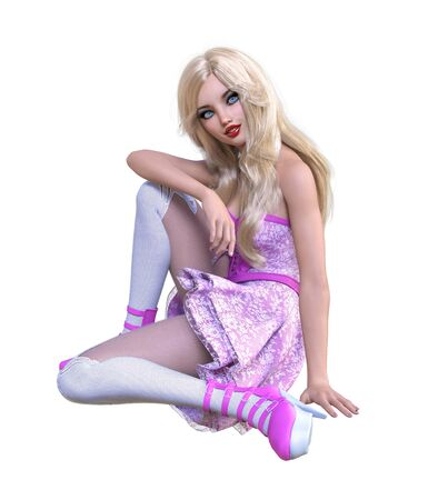 Young beautiful goth girl with doll face posing photo shoot. Short pink dress, stockings, shoes. Long blonde hair. Bright goth make up. Conceptual fashion art. Realistic 3D render illustration. Stock fotó - 147798394