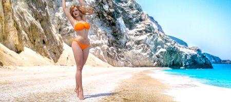 3D beautiful woman swimsuit bikini on sea beach.Rocky coast clear white sand.Summer rest.Blue ocean background.Sunny day.Conceptual fashion art.Seductive candid pose.Render illustration. Standard-Bild