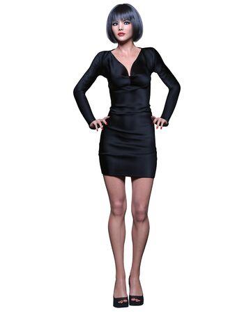 Beautiful brunette woman black short mini dress.Summer clothes collection.Bright makeup.Woman studio photography.Conceptual fashion art.Office business style.Femme fatale.3D Render. Standard-Bild