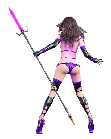 3D japanese assassin warrior amazon woman render.Futuristic neon glow costume.Comic cosplay hero.Cartoon, comics, manga illustration.Conceptual fashion art.Seductive candid pose.Isolated