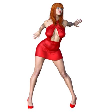 Beautiful redhead woman red short evening mini dress.Summer clothes collection.Bright makeup.Woman studio photography.Conceptual fashion art.Femme fatale.3D Render.