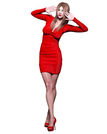 Beautiful blonde woman red short mini dress.Summer clothes collection.Bright makeup.Woman studio photography.Conceptual fashion art.Office business style.Femme fatale.3D Render. Standard-Bild