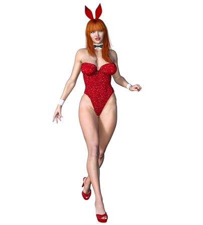 Bunny Girl.Sexy woman long legs.Swimsuit corset and shoes.Conceptual fashion art.Blue eyes.Seductive candid pose.3D render isolate illustration.