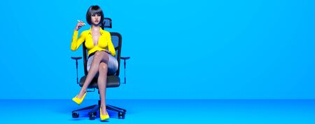 Woman sitting on office chair.Secretary in office.Pastel wall background.Woman studio photography.Conceptual fashion art.3D Render.Copy space.Minimalist style