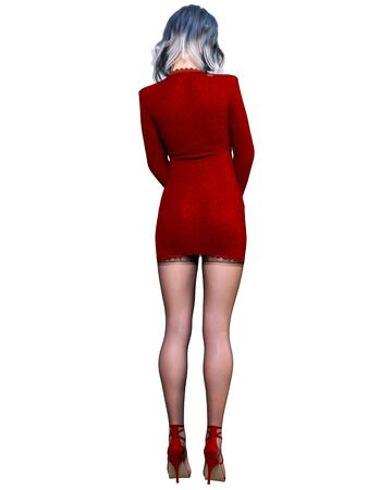 Beautiful woman red short evening mini dress and black stockings.Summer clothes collection.Bright makeup.Woman studio photography.Conceptual fashion art.Seductive candid pose.Femme fatale.3D Render.