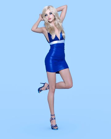 Beautiful blonde woman blue short dress.Summer clothes collection.Bright makeup.Woman studio photography.Conceptual fashion art.Office business style.Femme fatale.3D Render.
