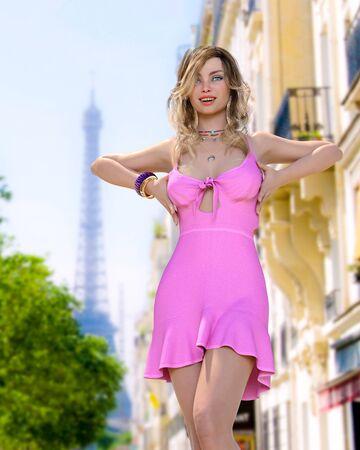 Beautiful woman in short light slim pink summer dress background of Eiffel Tower in Paris.Long hair.Girl poses for photographer.Travel memory.Conceptual fashion art.3d render illustration. Standard-Bild
