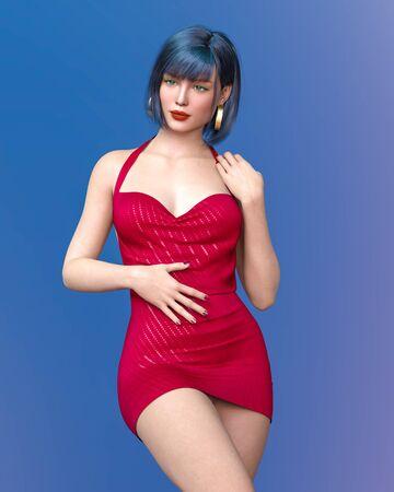 Beautiful woman short evening mini dress.Summer clothes collection.Bright makeup.Woman studio photography.Conceptual fashion art.Seductive candid pose.Femme fatale.3D Render.