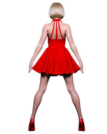 Beautiful blonde woman red short dress.Summer clothes collection.Bright makeup.Woman studio photography.Conceptual fashion art.Office business style.Femme fatale.3D Render.