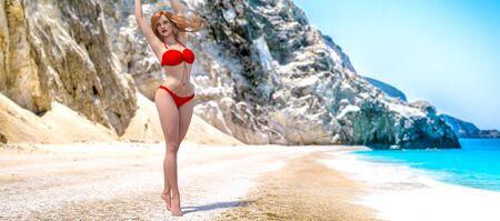 3D beautiful woman swimsuit bikini on sea beach.Rocky coast clear white sand.Summer rest.Blue ocean background.Sunny day.Conceptual fashion art.Seductive candid pose.Render illustration. Stock fotó